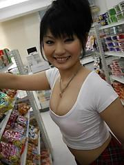 Hot babe Akane Ozora sucks cock in a grocery - Pics