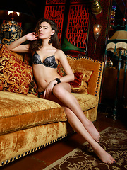 Stella Moon sensually poses on the sofa as she strips her sexy lingerie. - Pics