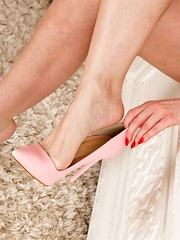 Goody two shoes not! Sophia loves to walk around naked in just high heels and blatantly wank herself off - Pics