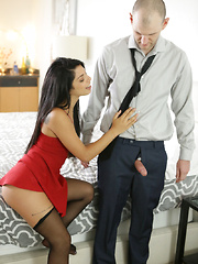 Latina babe Gina Valentina puts on a miniskirt dress and lingerie to seduce her guy into anal play and a hardcore romp - Pics