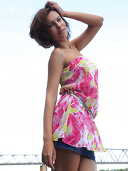 Suzanna A sensually poses outdoors as she strips her beautiful dress. - Pics