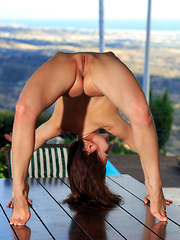 Berenice sensually poses on the table baring her delectable pussy. - Pics