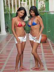 Karina and Ana are hot teen latinas who help each other strip off their string bikini tops