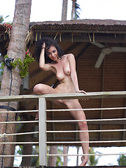 Cute girl posing naked outdoors