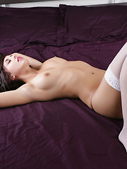 White stockings and black panties. Autumn Riley is amazing