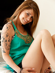 Hailey takes off green top and showing her sexual young body