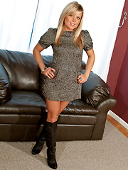 Madden in grey dress and black boots - Pics