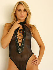 Nicole Jaimes is rockin her one piece in leather and lace