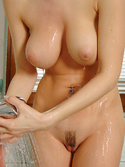 Goddess Jenya alone with the camera and she has to wash up because she is just too hot. - Pics