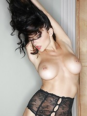 Amazing brunette babe Jenya in black stockings