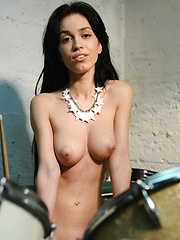 Gorgeous newcomer with cuppable breasts and smooth, shaven labia. - Pics