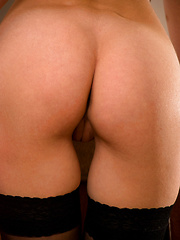 Burring hot redhead feels her own curves and sensitive areas. - Pics