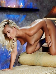Passionately erotic evening with a naughty blonde.