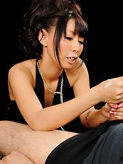 Japanese babe Oguri Miku doing handjob - Pics