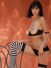 Jaime Hammer - spreads her legs in striped stockings - Pics