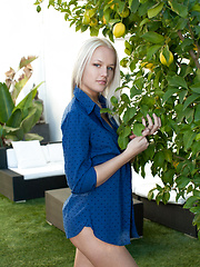 Karina strips her blue polo shirt and   shows off her delectable assets starring   with her nubile, perky breasts, round,   tight ass, and smooth, tiny labia on the   center table.