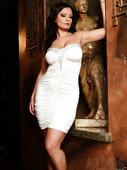 Beautiful busty brunette babe, Aria Giovanni, is looking so hot wearing her white, very tight dress & heels.  She looks even better stripping out of them!