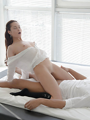 A sultry striptease showing off her small tits kicks off a hot fuck fest between brunette babe Kristall Rush and her man - Pics