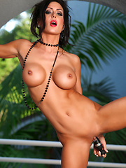 The Key Pics - Jessica Jaymes is sexy and seductive as she strips and posed outside