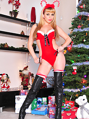 Dressed for the Holidays Lexi Belle strips and poses for the camera