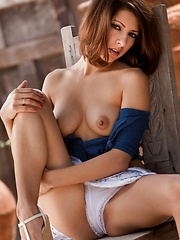 Lexi Bloom - strips and has a good time on a chair outside