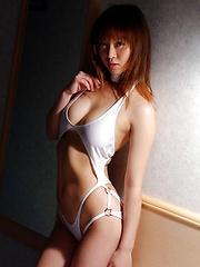 Azusa Kyouno at the beach posin big round tits - Pics