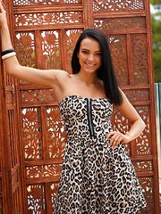 Exquisite Goddess Sapphira is dressed in a kitschy strapless leopard dress wearing black peep toe stilettos. - Pics
