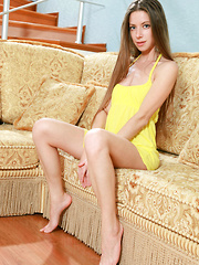 Mika A's bright yello dress matches her pretty girl-next-door personality, her dazzling blue eyes and sweet charming smile so beguiling as she starts showcasing her nubile body with fresh, moist pussy. - Pics
