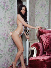 Like a goddess with amazing body, Valeria A poses in a skimpy lingerie that shows off her body's stunning curves and assets. - Pics