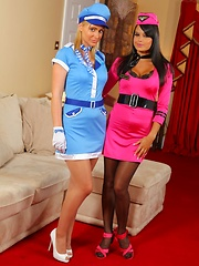 Bebe and Jenna J look stunning in their air hostess outfits. - Pics