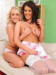 Kelly M and Lucy Anne make a real treat as they slowly help each other to get off cute summer outfits.