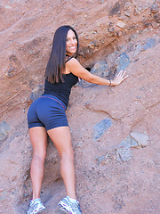 Zoey exercises outside horny and gets naked  - Pics