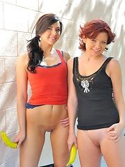 Rita and Madeline masturbating with bananas - Pics