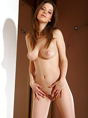 Smooth pale skin, puffy pink nipples,   slim and slender figure, Anita works her   bewitching magic as she undress her   flowery flowing dress, moving with   finesse and refinement to the floor.