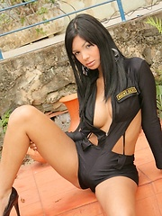 Karla is a sexy little officer who strips down - Pics