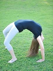 Orianna plays in a public park