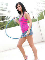 Cheeky Catie Minx works a hula hoop like she works a cock - with enthusiasm!