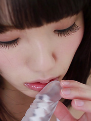 Even after the banana and slime videos, this lovely Japanese girl was still nervous to put on a butterfly thong. Moments later Honoka was sucking on a rubber dildo! - Pics