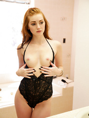Redheaded temptress Natalie Lust takes her bald horny pussy to hot new heights with her magic fingers and vibrating toy - Pics