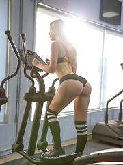 Horny lesbian trainer fuckes her student at the gym when   no one is around sexy petite babes eating pussy - Pics