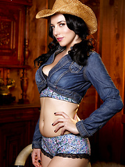 Jelena Jensen showing her ass and sweet pussy in cowgirl outfit