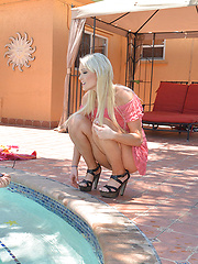 Zoey Paige decides to hop in the pool naked with her friends brother and then they fuck inside. - Pics