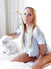 Super cute petite horny teen babe Hollie Mack has a very nasty fantasy with her stuffed bunny toy and it comes to life and fucker her tight pussy - Pics