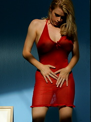 Sydney Moon - plays with herself in her red nightie