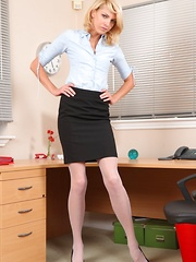 Slender secretary flirts with her colleagues before teasing them with her hot nude body.