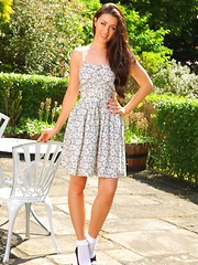 Natalia looks fantastic as she slips out of her summer dress in the sunshine.