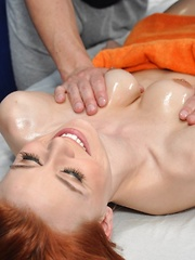 Cute redhead Sage is seduced and fucked hard by her massage therapist - Pics