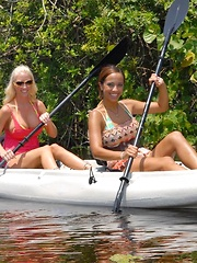 Check out these amazing hot ass big tits lesbians on a canoe lick and fuck their boxes after their water ride in these hot pics and big movie