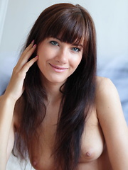 Sweet and charming Luce A with round, cuppable breasts, shaved pussy, and pretty feet.