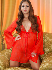 Passionate, sultry, and confident Nastya K in her sheer red lingerie dress. - Pics